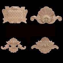 Decoração europeia ornamental retro madeira natural apliques onlay decalque de madeira longo floral grande rosa coroa portas de madeira canto novo