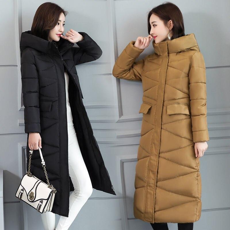 Image 3 - 2019 fur Hooded Parka casaco feminino female jacket Coat plus  size winter jacket women Casual Down Cotton Long Padded ParkasDown  Coats