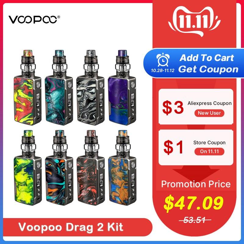 Stock Voopoo glisser 2 platine 177W TC Kit cigarette électronique avec Uforce T2 alimenté par double 18650 Vape vaporisateur VS Shogun/X217