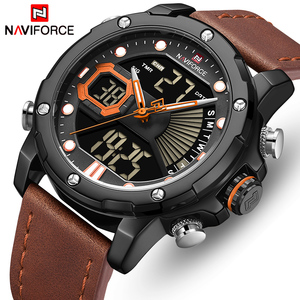 Часы наручные NAVIFORCE Мужские кварцевые, брендовые Роскошные Аналоговые Цифровые светодиодсветодиодный, в стиле милитари, с кожаным ремешком
