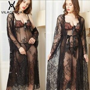 Image 5 - Lace See Through Sleepwear Women Sexy Robe Sets Long Robe Sleeveless Nightdress Thong 3 Piece Set Summer Women Sexy Night Dress