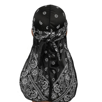 New Men's Durag Hip-Hop Bandanna Cap Rapper Turban Hat Silky Headband Floral Du-rag Headwear Chemotherapy Cap Amoeba Pirate Hat 2