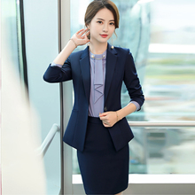 Large size S-5XL womens suits skirt set Autumn new slim single button full sleeve blazer Slim trousers Office suit overalls