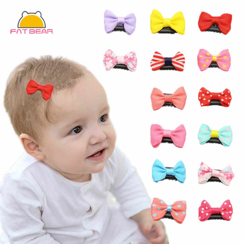 10PCS Arco Tiny clipes de cabelo Bebê Meninas Headwear Presilhas Grampo De Cabelo Cor aleatória