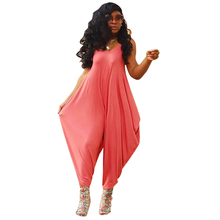 New large size hot sale loose ladies solid color sling V-neck bloomers harem ladies casual ropa mujer jumpsuit women summer 2020 autumn new middle east popular solid color loose casual hanging neck loose wide leg large size fat mm sexy ladies dress