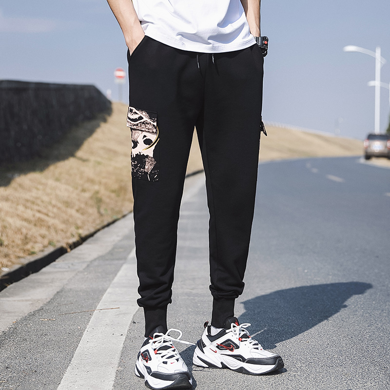 2020 summer new tide brand Harlan beam foot guard pants loose sports pants casual pants nine points pants men