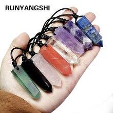 Runujshi, pingentes de cristal de cura, pingentes de chakra hexagonal de quartzo, pedra em forma de bala, joias de contas de pingente diy