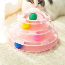 Pet Cat IQ Training Toys Three Levels Tower Station For Cats Kittens Entertainment Disc Turntable Amusement Plate with Balls