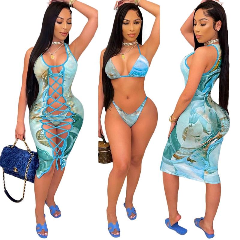 2021 Fashion Bikini Set And Matching Cover Dress Womens Sleeveless Hollow Out Laced Beach Dress 3 Pieces Outfits Beachwear S-XL 12