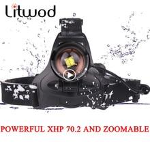 Litwod Z25 LED كشافات XHP70.2 قابلة للشحن المصباح 5000LM عالية الطاقة الصيد xhp70 xhp50 رئيس مصباح مصباح التكبير والتصغير