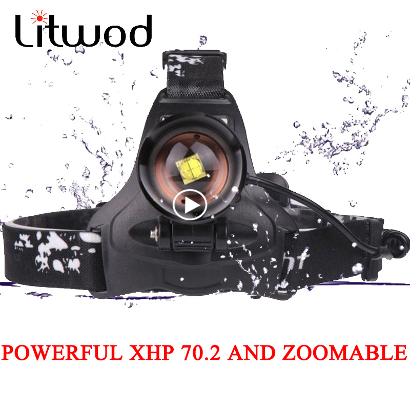 Litwod Z25 LED Headlamp XHP70.2 Rechargeable Headlight 50000LM High Power Fishing Xhp70 Xhp50 Head Lamp Zoom Light