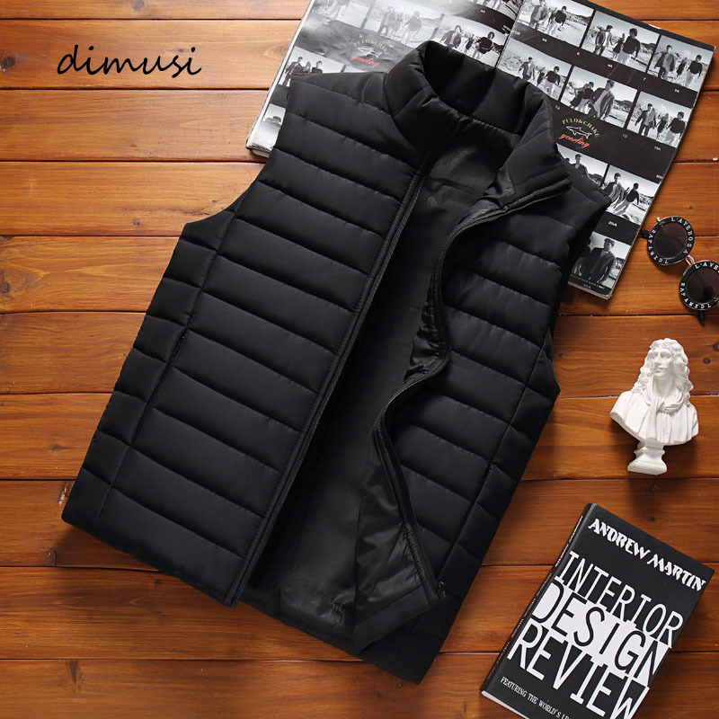 DIMUSI Men' Sleeveless Vest Jackets Winter Fashion Male Cotton-Padded Vest Coats Men Stand Collar Warm Waistcoats Clothing 5XL