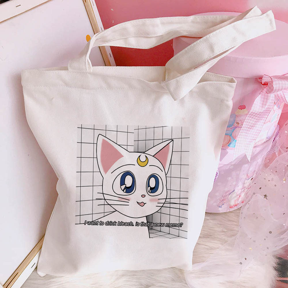 Sailor Moon Cat Sweet Shoulder Bag Harajuku Cartoon Print Canvas Bag Female College Fun Cute Japanese Open Pocket Bags