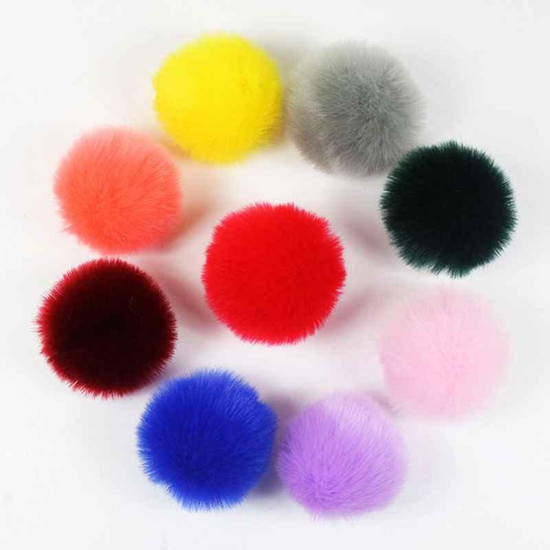 2 stks/set 14 Kleuren 8cm DIY Pluizige Pompom Bal Met Elastische Lus Regenboog Effen Kleur Voor Breien Hoed Schoenen sjaals Tas Handtas