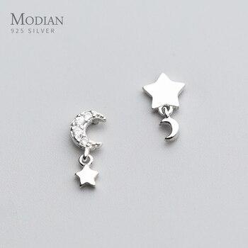 Modian Moon Clear CZ Swing Stud Earrings Sparkling Stars 925 Sterling Silver Charm Exquisite Studs Ear For Women Fine Jewelry