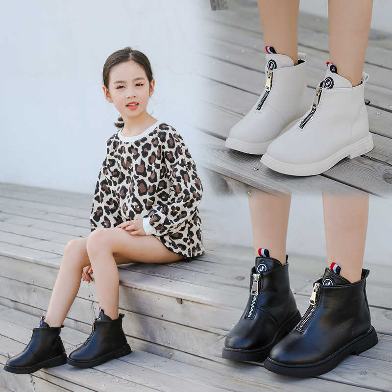 2019 Autumn Fashion Girls Boots Leather Korean Ankle Boots School Big Girls  Black White Winter Booties for Kids Size 27,37