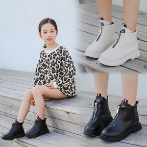 Image 1 - 2019 outono moda meninas botas de couro coreano tornozelo botas escola meninas grandes preto branco inverno botas para crianças tamanho 27 37