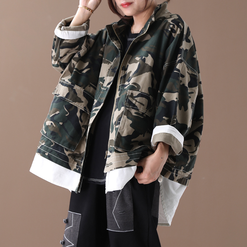 Female new autumn plus size korean style   trench   literary camouflage with zipper short loose all-match outerwear