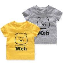 Cotton Cartoon Cute Bear Print Boys Girls T-Shirts Children Kids Summer Short Sleeve T Shirts Baby Child Tops Clothing Tee 2-6 T