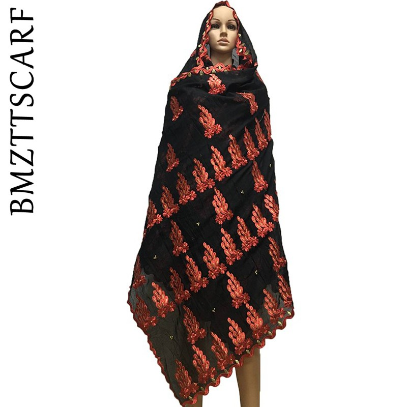 High Quality African Women Embroidered Scarfs Heavy Big Cotton Scarf With Beads Big Size Scarf For Shawls Wraps BM645