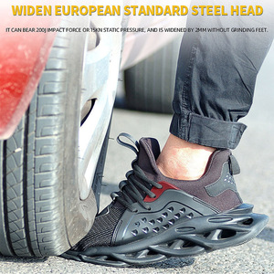 Image 4 - Mens Outdoor Breathable Mesh Steel Toe Safety Shoes Light Puncture Proof Comfortable Work Shoes Reflective Safety Boot
