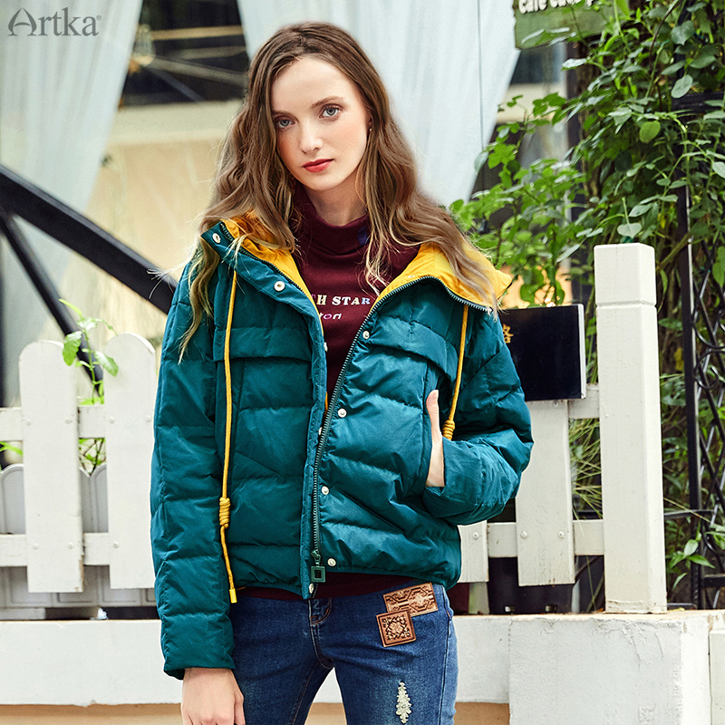 ARTKA 2019 Winter New Women Down Coat 90% White Duck Down Extremely Warm Jacket Casual Short Thicken Hooded Down Coat DK10183D