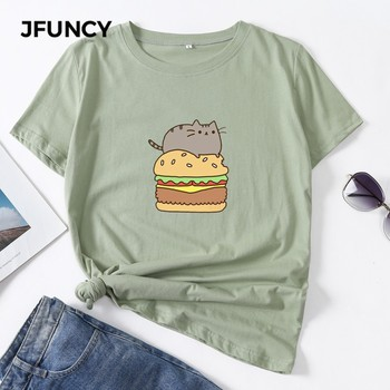 JFUNCY 100% Cotton Summer Streetwear Plus Size Women T Shirts Cute Cat Kawaii Printed Ulzzang Tshirt Female T-shirt Woman Tops jfuncy cute avocado cat print oversize women loose tee tops 100% cotton summer t shirt woman shirts fashion kawaii mujer tshirt
