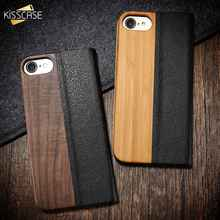FLOVEME Bamboo Natural Wood Case For iPhone 11/11 Pro Max XR X XS Max PU Leather Flip Wallet Pouch Bag For 7/8 Plus 6/6S Coque