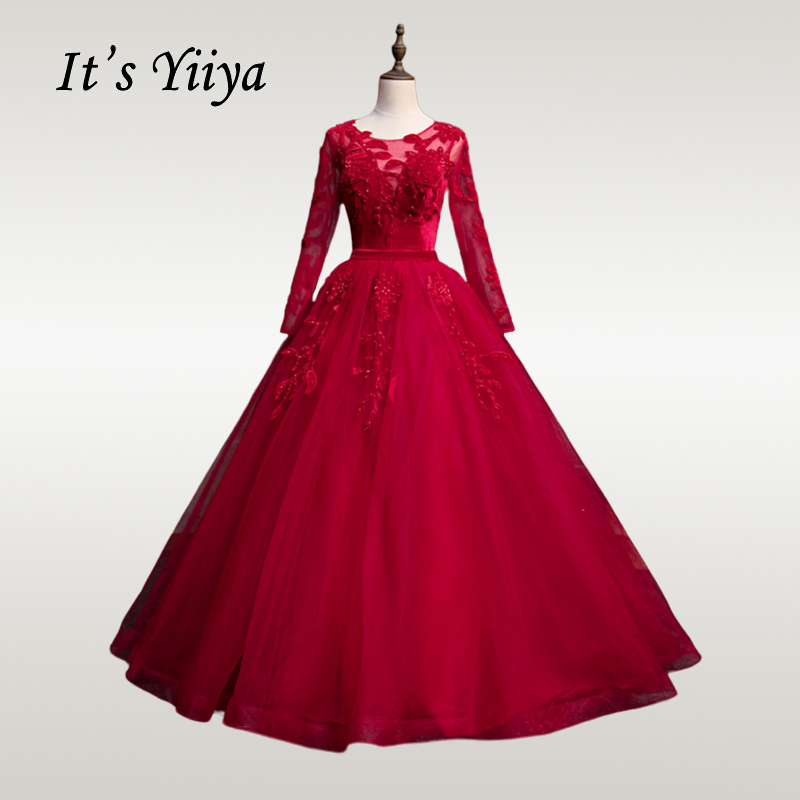 It's YiiYa Wedding Dress 2019 O-neck Long Sleeve Burgundy Muslim Wedding Dresses Elegant Beading Plus Size Robe De Mariee CH063