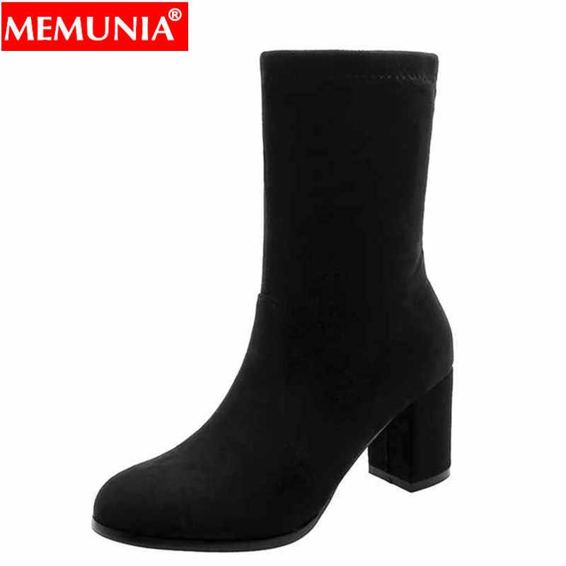 MEMUNIA Artı boyutu 34-43 Yeni 2020 kadın çizmeler siyah düz renk sonbahar kış çizmeler yüksek topuklu yarım çizmeler moda ayakkabılar