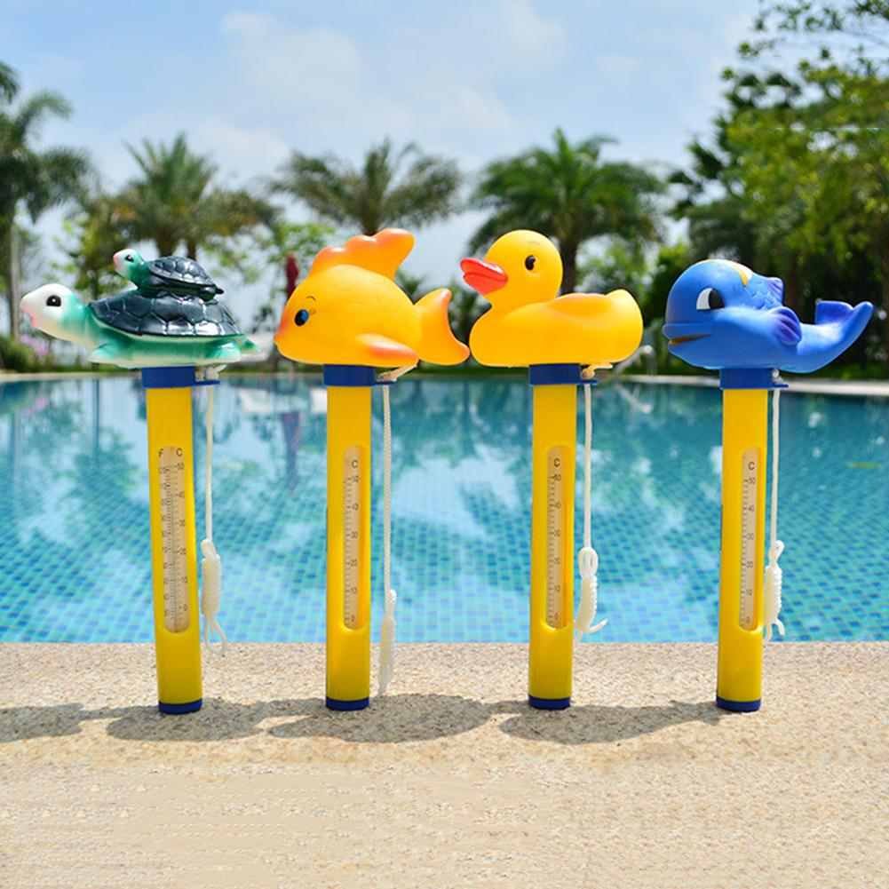 220cm Mini Cute Cartoon Duck Whale Fish Tortoise Head Floating Swimming Pool Thermometer Non-toxic Durable Swim Pool Thermostat