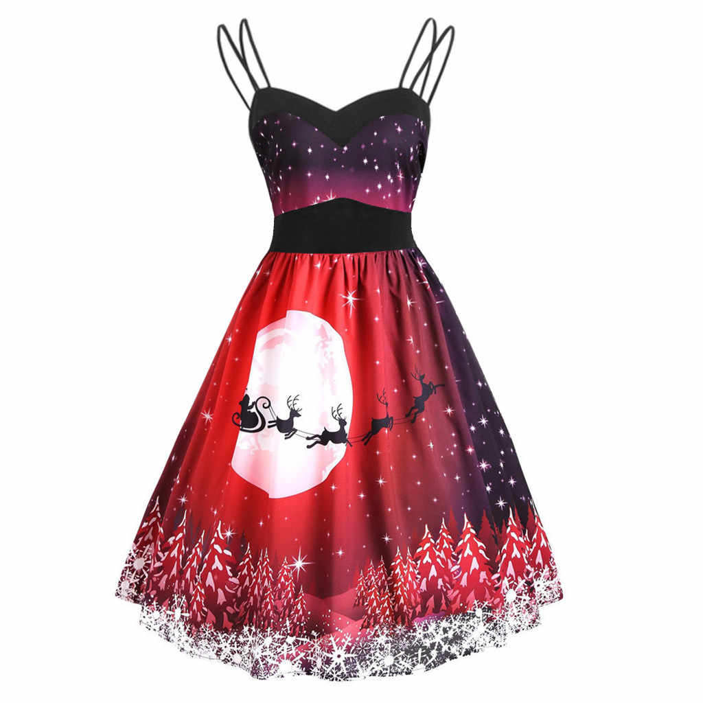 2020 New Year Women's Vintage Christmas Strap Sleeveless V-Neck Print Sexy Dress Drop Ship Free delivery Drop Ship