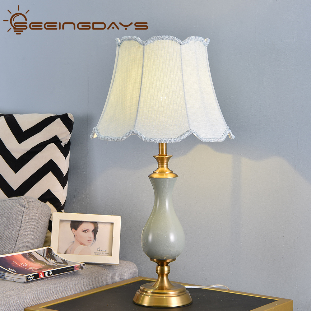 Buy 3 Get 20% Off American Style Green <font><b>Ceramic</b></font> <font><b>Table</b></font> <font><b>Lamp</b></font> With Flower Lampshade Metal <font><b>Base</b></font> Bedside <font><b>Lamp</b></font> For Bedroom Living Room image