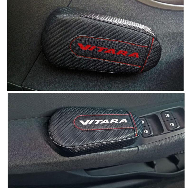 Car Styling For Suzuki Vitara 1pc Carbon Fiber Leather Leg Cushion Knee Pad Armrest Pad Interior Car Accessories