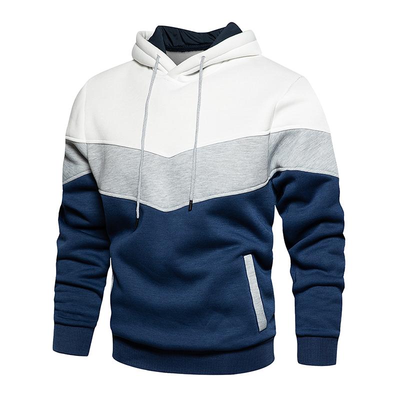 Men's Patchwork Hooded Sweatshirt Hoodies Clothing Casual Loose Fleece Warm Streetwear Male Fashion Autumn Winter Outwear