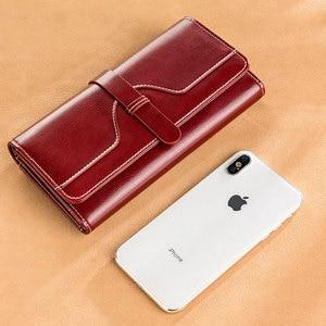 Image 4 - Luxury Design Vintage Oil Wax Women Genuine Leather Wallet Long Large Capacity Clutch Purse Ladies Bag Tri fold Phone Money Clip