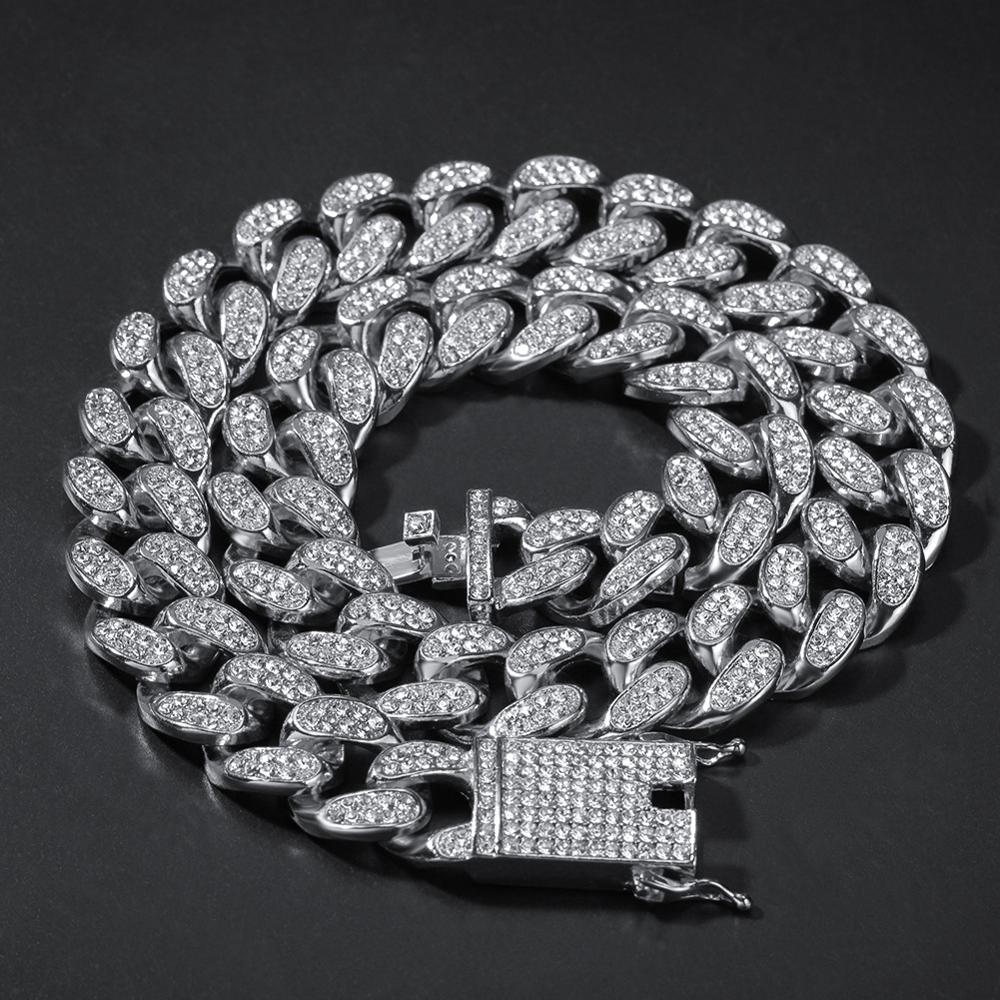 Rhinestone Bracelet Gold-Chain Necklace Jewelry Rapper Hip-Hop 20mm Domineering Miami