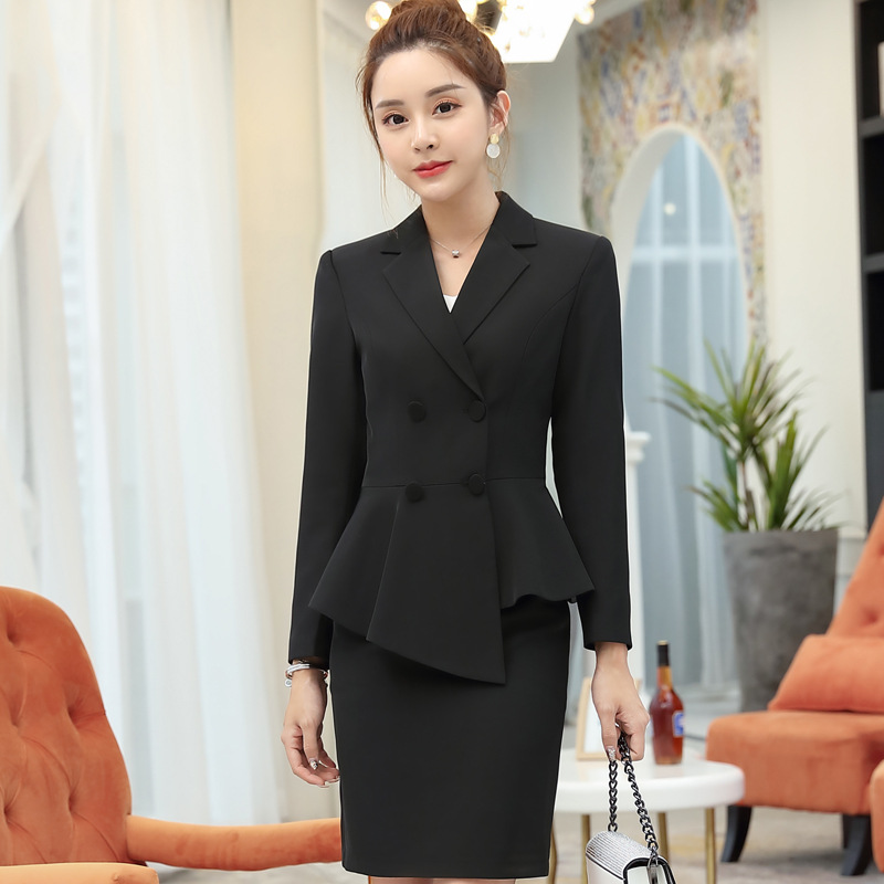 Womens Work Skirt Suit Autumn Blazer Skirts Uniform Office Skirt Suits for Woman Plus Size Skirt and Jacket Two Piece Set Outfit