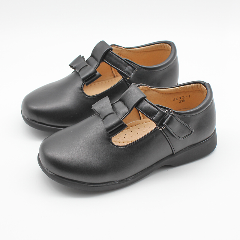 Girls Faux Leather Black School Shoes Kids Mary Jane PU Bowknot Patent Flat Party Shoes