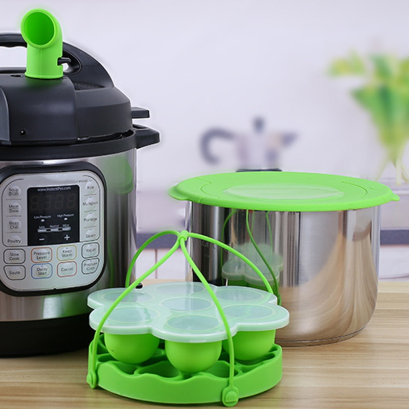 4pcs Food Steamer With Lid Egg Tools Cake Molds Pressure Cooker Silicone Cover Food Storage Container Steamer Accessories