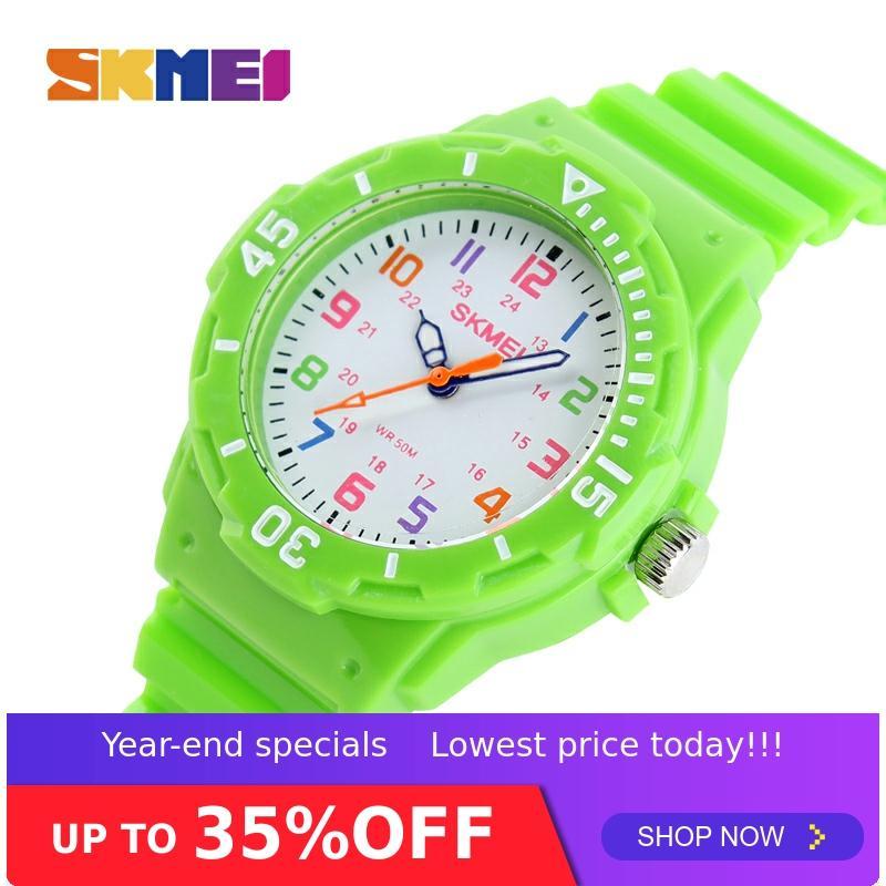 SKMEI Fashion Casual Kids Watches 5bar Waterproof Quartz Wristwatches Jelly Kids Clock Children Watch Montre Enfant 1043