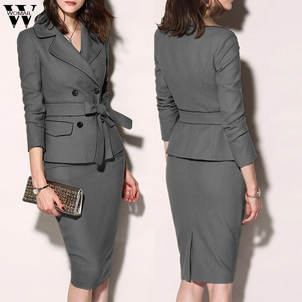 Womail Tracksuit Women Autumn Female Two Piece Set Jacket Blazer+pencil Skirt Suit Elegant Office 2 Piece Set Button Streetwear