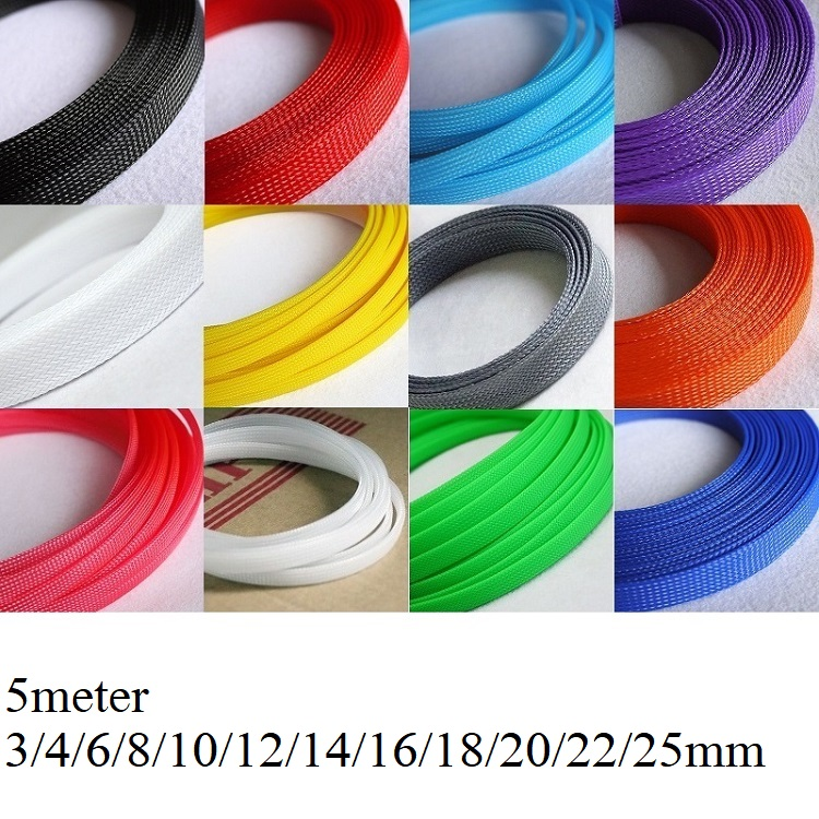5M Cable Sleeve 3 4 6 8 10 12 14 16 18 20 22 25 Mm PET Braided Expandable Wire Sleeving Wrap Cable Insulation Nylon Sheath