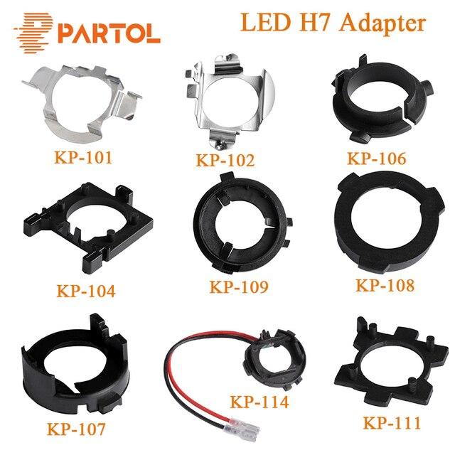 Partol H7 LED מתאם H7 הנורה שקע התמך קליפ בסיס עבור Kia BMW אאודי A3 A4 פולקסווגן גולף ניסן מרצדס בן Hyunda פורד