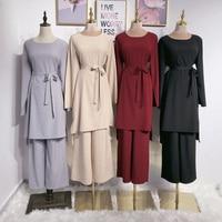 Set Abaya Turkey Dubai Muslim Hijab Dress Tops Pants Abayas For Women Jilbab Caftan Marocain Kaftan Turkish Islamic Clothing