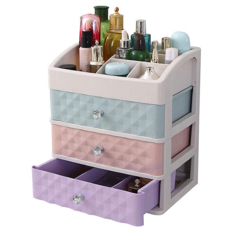 1 Plastic Drawer Make-Up Box Make-Up Box Manicure Desk Top Storage Box Three Extraction Make-Up Box