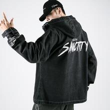 Streetwear Casual Siyah Denim Ceket Erkekler Mektup Baskı Kargo Erkek Kot Ceket Rüzgarlık Kapüşonlu Erkek Palto
