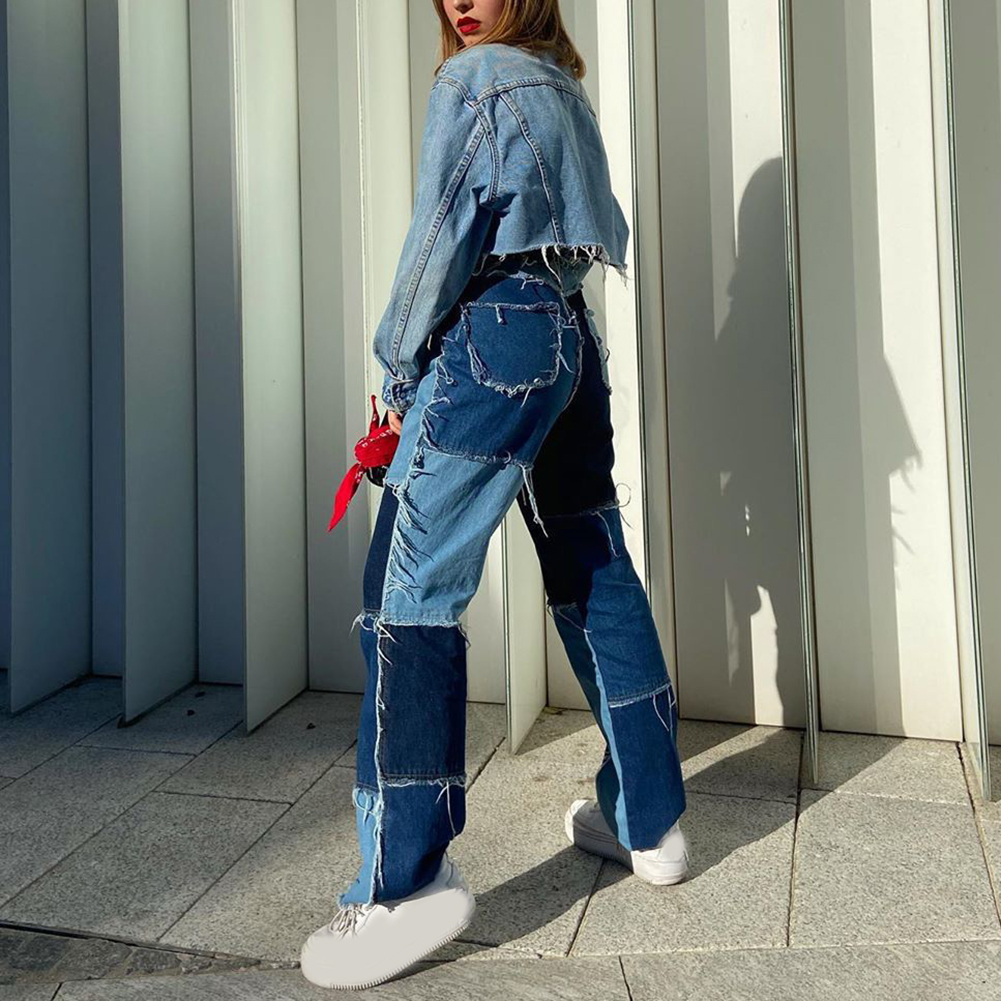 hunter-wish High Waisted Jeans Women Casual Long Trouses Ladies Patchwork Fashion Denim Pants Capris Pocket Streetwear 2020