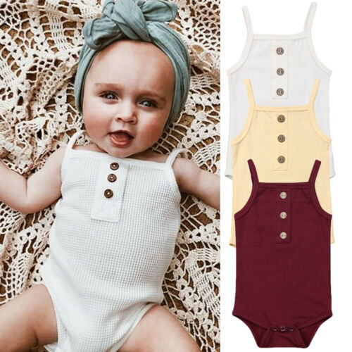 Newborn Infant Baby Girl Bodysuit Soild Babygrow Vest Clothes Sleeveless Romper One Piece Outfits Summer Clothes 2019 New