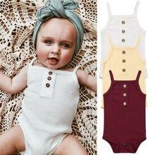 Newborn Infant Baby Girl Bodysuit Soild Babygrow Vest Clothes Sleeveless Romper